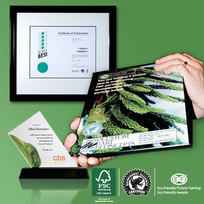 FSC approved, eco-friendly, green awards and plaques to help you achieve your environmental responsibility goals.